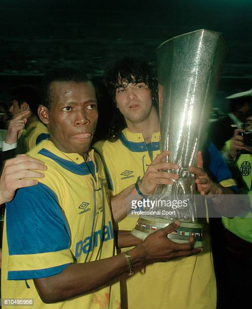 Faustino Asprilla of Parma with the trophy after the UEFA Cup Final 2nd Leg between Juventus and Parma at the San Siro Stadium in Milan 17th May 1995...