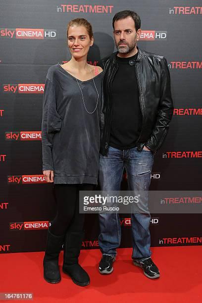 Fausto Brizzi and Claudia Zanella attend the In Treatment premiere at Teatro Capranica on March 27 2013 in Rome Italy