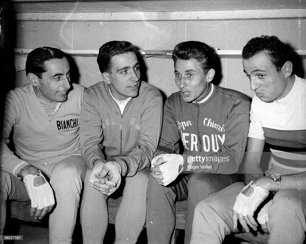 Fausto Coppi, Italian racing cyclist, Roger Riviere and Jacques Anquetil, French racing cyclists and Ercole Baldini, Italian racing cyclist (from left to right) during the Six jours of Paris. Vel' d'Hiv', on November 2, 1958. RV