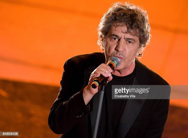 Fausto Leali speaks on opening night of the 59th San Remo Song Festival at the Ariston Theatre on February 17 2009 in San Remo Italy