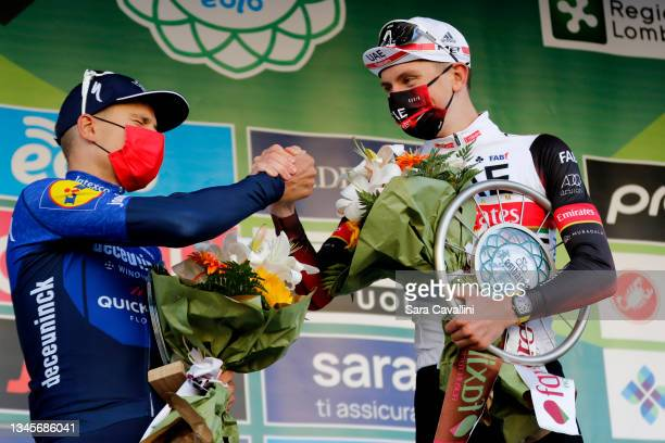 Fausto Masnada of Italy and Deceuninck-Quick-Step team and Tadej Pogacar of Slovenia and UAE Team Emirates cheers during the 115th Il Lombardia 2021...