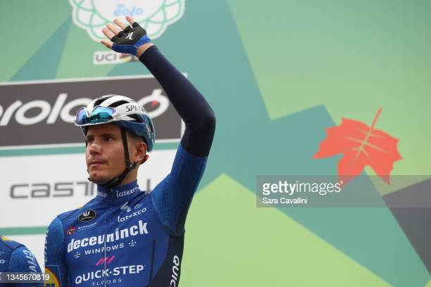 Fausto Masnada of Italy and Deceuninck-Quick-Step team cheers during the 115th Il Lombardia 2021 a 239km race from Como to Bergamo on October 09,...