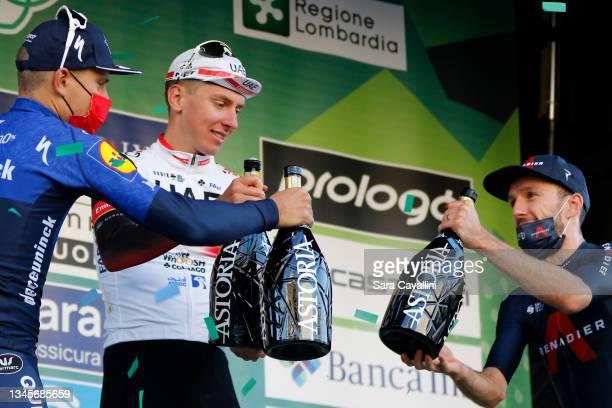 Fausto Masnada of Italy and Deceuninck-Quick-Step team Tadej Pogacar of Slovenia and UAE Team Emirates and Adam Yates of Great Britain and team Ineos...