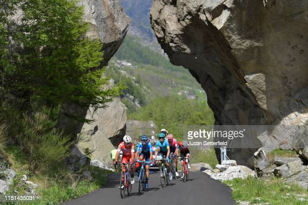 Fausto Masnada of Italy and Team Androni Giocattoli Sidermec / Hector Carretero of Spain and Movistar Team / Ion Izaguirre of Spain and Astana Pro...