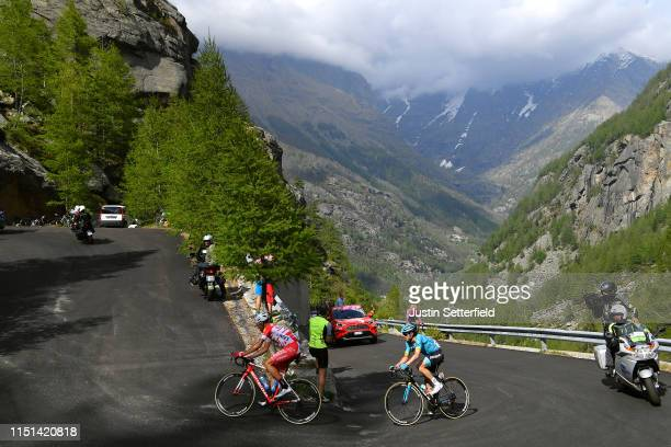Fausto Masnada of Italy and Team Androni Giocattoli Sidermec / Ion Izaguirre of Spain and Astana Pro Team / Ceresole Reale / Landscape / Mountains /...