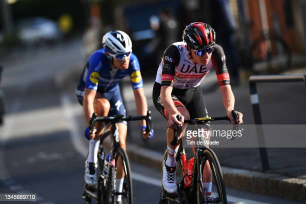 Fausto Masnada of Italy and Team Deceuninck - Quick-Step and Tadej Pogacar of Slovenia and UAE Team Emirates compete in the breakaway during the...