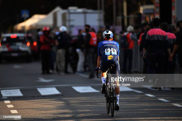 Fausto Masnada of Italy and Team Deceuninck - Quick-Step crosses the finishing line on second place during the 115th Il Lombardia 2021 a 239km race...