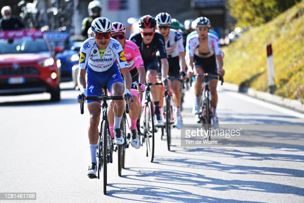 Fausto Masnada of Italy and Team Deceuninck - Quick-Step / Joao Almeida of Portugal and Team Deceuninck - Quick-Step Pink Leader Jersey / during the...