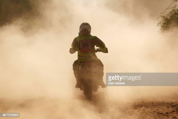 Fausto Mota of Spain and TeslaTamega Rally rides a PKL 450 KTM bike in the Classe 22 Marathon during stage thirteen of the 2018 Dakar Rally between...