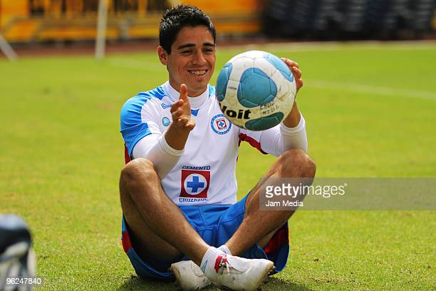 Fausto Pinto of Cruz Azul in action during a training session at the Azul Stadium on January 28, 2010 in Mexico City, Mexico.