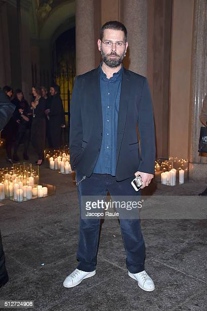 Fausto Puglisi attends Vogue Cocktail Party honoring photographer Mario Testino on February 27 2016 in Milan Italy