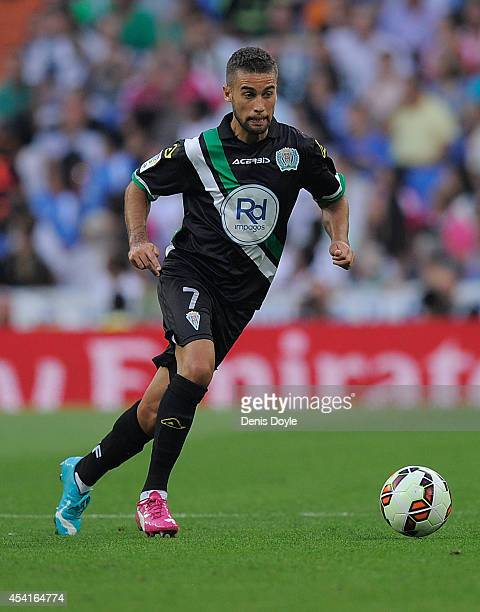Fausto Rossi of Crodoba CF in action during the La liga match between Real Madrid CF and Cordoba CF at Estadio Santiago Bernabeu on August 25 2014 in...