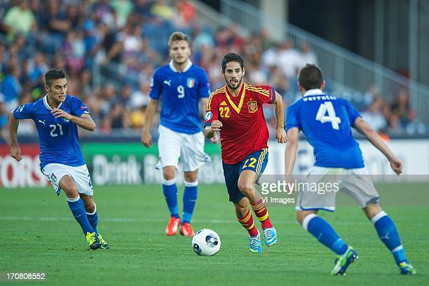 Fausto Rossi of Italy U21 Ciro Immobile of Italy U21 Isco of Spain U21 Marco Verratti of Italy U21 during the UEFA Euro U21 final match between Italy...