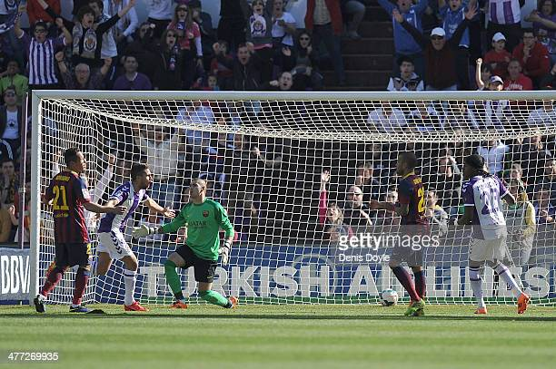 Fausto Rossi of Real Valladoldo CF celebrates after scoring his team's opening goal during the La Liga match between Real Valladolid CF and FC...