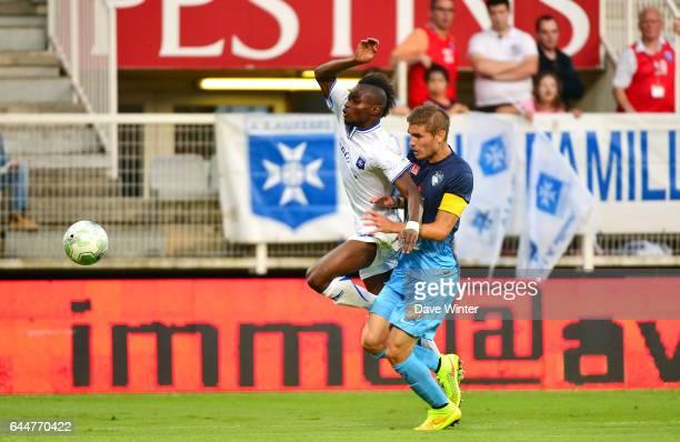 Faute Maxime LE MARCHAND / Francois Xavier FUMU TAMUZO - - Auxerre / Le Havre - 1e journee Ligue 2, Photo : Dave Winter / Icon Sport