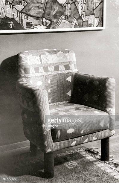 A fauteuil in the flat of Wolko Gartenberg in Vienna Upholstered with the fabric Whisky by Maria Likarz the painting Stadtende by Egon Schiele...