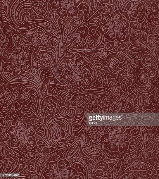 faux leather floral pattern - art nouveau stock pictures, royalty-free photos & images