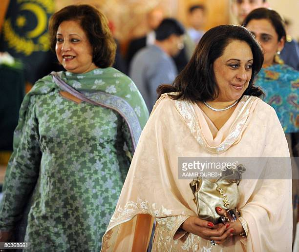 Fauzia Gilani wife of newly elected Pakistani Prime Minister Yousuf Raza Gilani is flanked by the first lady of Pakistan Sehba Musharraf as she...