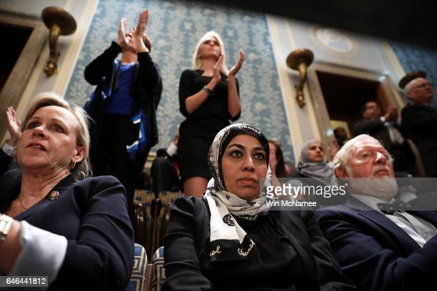 Fauzia Rizvi cofounder and vice president of For The People Political Action Committee looks on as US President Donald Trump addresses a joint...
