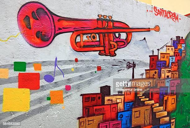 Favela Santa Marta, Rio de Janeiro, Brazil, graffiti with a trumpet.