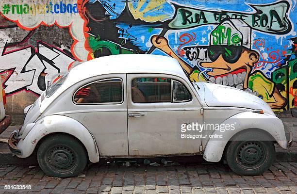 Favela Santa Marta Rio de Janeiro Brazil old VW beetle car