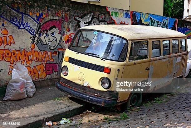 Favela Santa Marta Rio de Janeiro Brazil old VW bus car