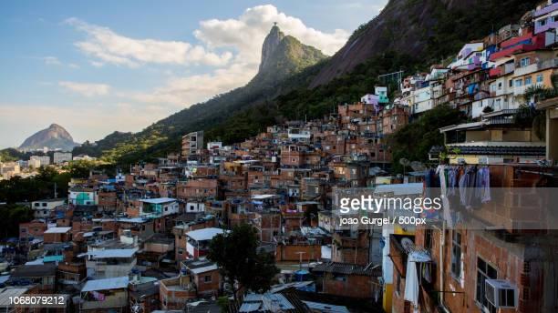 favelas area in afternoon light, rio de janeiro, brazil - favela imagens e fotografias de stock