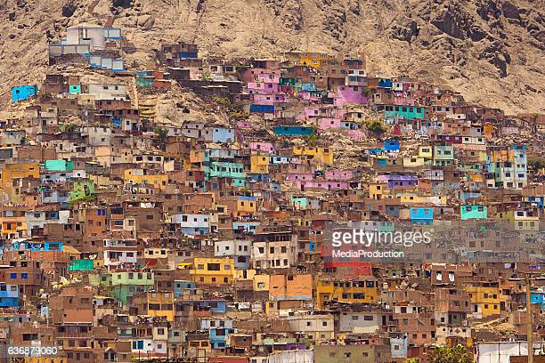 favelas of lima peru - peru stock pictures, royalty-free photos & images