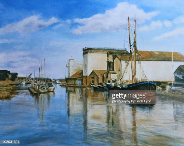 faversham creek  oil painting - pintura a óleo imagem pintada - fotografias e filmes do acervo