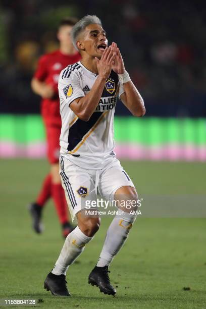 Favio Alvarez of La Galaxy reacts during the MLS match between Los Angeles Galaxy and Toronto FC at Dignity Health Sports Park on July 4 2019 in...