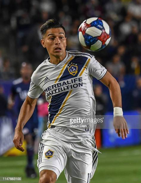 Favio Alvarez of Los Angeles Galaxy during the Los Angeles Galaxy's MLS match against New England Revolution at the Dignity Health Sports Park on...