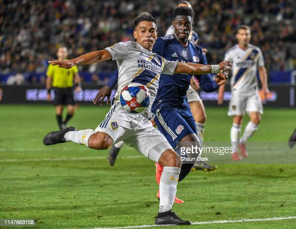 Favio Alvarez of Los Angeles Galaxy takes a shot on goal during the Los Angeles Galaxy's MLS match against New England Revolution at the Dignity...