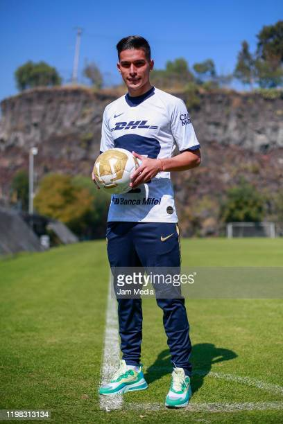Favio Alvarez of Pumas poses with the ball during the unveiling of the new Pumas UNAM players at La Cantera on January 8 2020 in Mexico City Mexico