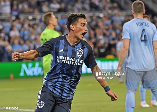 Favio Alvarez of the Los Angeles Galaxy reacts after scoring a goal during the second half against Sporting Kansas City on May 29 2019 at Children's...