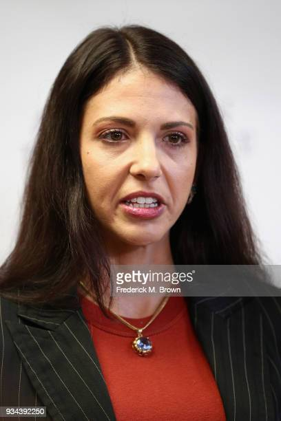 Faviola Dadis speaks during a press conference with Regina Simons and their attorney Lisa Bloom Dadis and Simons are accusing actor Steven Seagal of...