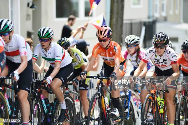 Favorite and previous winner Evelyn Stevens of USA with team BoelsDolmans Cyling team is seen competing during the UCI Women's World Tour...