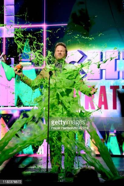 Favorite buttkicker winner for 'Jurassic World Fallen Kingdom' actor Chris Pratt gets slimed at Nickelodeon's 2019 Kids' Choice Awards at Galen...