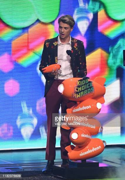 Favorite Male TV Star winner for Henry Danger Jace Norman appears on stage during the 32nd Annual Nickelodeon Kids' Choice Awards at the USC Galen...