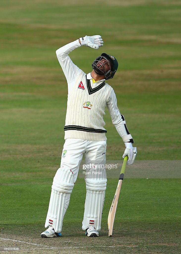 Fawad Ahmed of Australia calls for a drink during day three of the tour match between Northamptonshire and Australia at The County Ground on August 16, 2015 in Northampton, England.