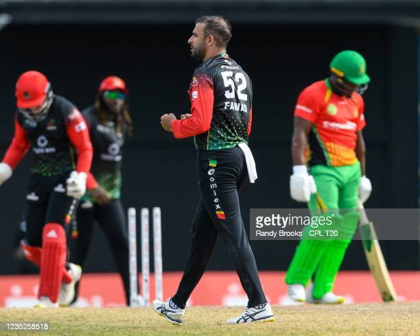 Fawad Ahmed of Saint Kitts & Nevis Patriots celebrates the dismissal of Odean Smith of Guyana Amazon Warriors during the 2021 Hero Caribbean Premier...