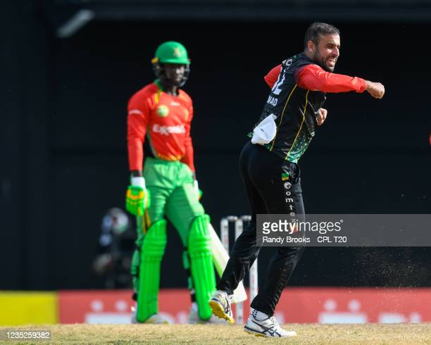 Fawad Ahmed of Saint Kitts & Nevis Patriots celebrates the dismissal of Kevin Sinclair of Guyana Amazon Warriors during the 2021 Hero Caribbean...