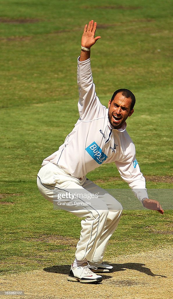 Fawad Ahmed of the Bushrangers appeals to the umpire during day three of the Sheffield Shield match between the Victorian Bushrangers and the New South Wales Blues at Melbourne Cricket Ground on March 9, 2013 in Melbourne, Australia.