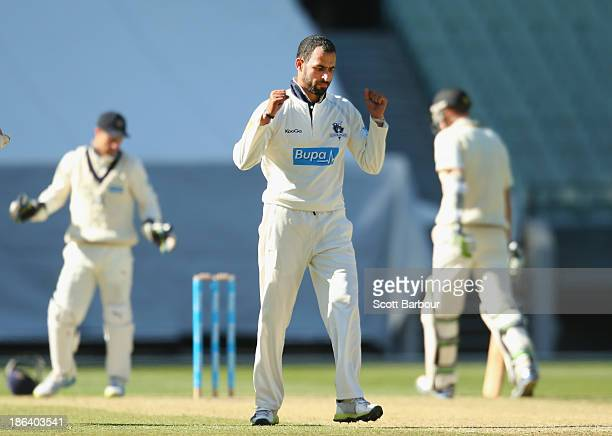 Fawad Ahmed of the Bushrangers celebrates after taking his sixth wicket during day two of the Sheffield Shield match between the Victoria Bushrangers...