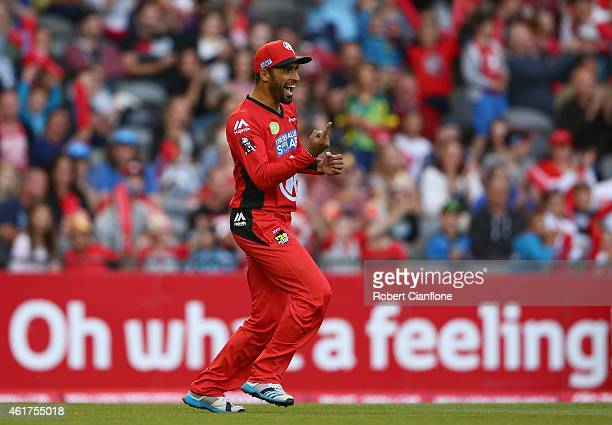 Fawad Ahmed of the Melbourne Renegades celebrates the taking the wicket of Tim Ludeman of the Strikers during the Big Bash League match between the...
