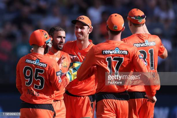 Fawad Ahmed of the Scorchers celebrates the wicket of James Vince of the Sixers during the Big Bash League match between the Perth Scorchers and the...
