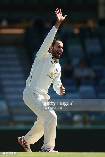 Fawad Ahmed of Victoria appeals successfully for the wicket of David Moody of Western Australia during day two of the Sheffield Shield match between...