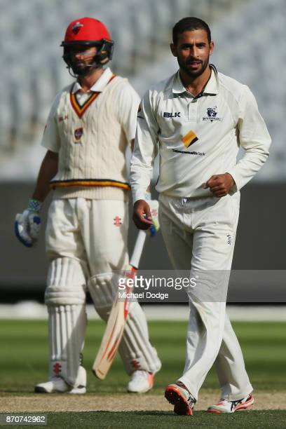 Fawad Ahmed of Victoria celebrates the wicket of Jake Lehmann of South Australia during day three of the Sheffield Shield match between Victoria and...