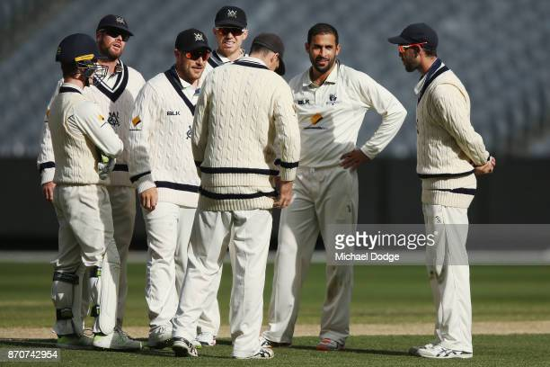 Fawad Ahmed of Victoria celebrates with teammates the wicket of Jake Lehmann of South Australia during day three of the Sheffield Shield match...