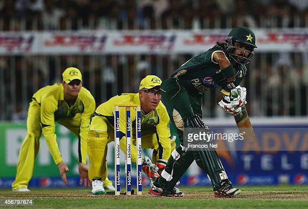 Fawad Alam of Pakistan bats during the first match of the one day international series between Australia and Pakistan at Sharjah Cricket Stadium on...