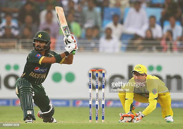 Fawad Alam of Pakistan bats during the second match of the one day international series between Australia and Pakistan at Dubai Sports City Cricket...